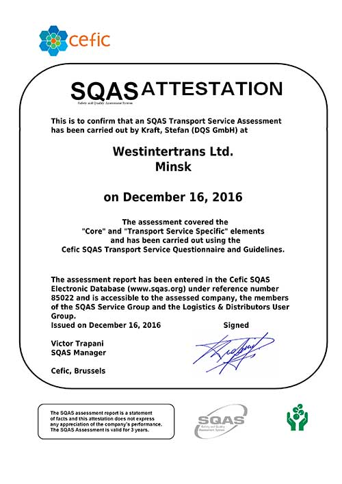 WESTINTERTRANS LTD. successfully passed SQAS certification!